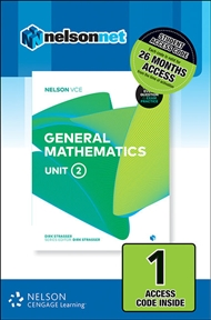 Nelson VCE General Mathematics Unit 2 (1 Access Code Card) - 9780170370929