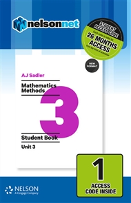 Sadler Mathematics Methods Unit 3 Revised – 1 Access Code - 9780170395199