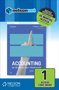 Accounting: An Introductory Framework Units 1 & 2 (1 Access Code Card) - 9780170401883