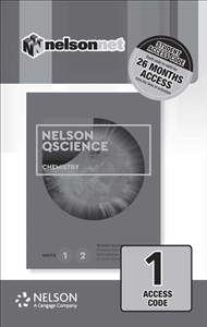 Nelson QScience Chemistry Units 1 & 2 (1 Access Code Card) - 9780170412384