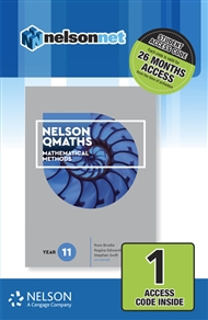 Nelson QMaths 11 Mathematics Methods 1 Access Code Card - 9780170412919
