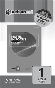 Maths in Focus 11 Mathematics Extension 1 (1 Access Code Card) - 9780170413350