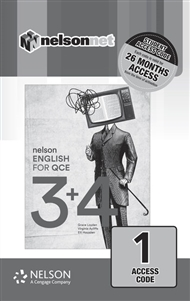 Nelson English for QCE Units 3 & 4  (1 Access Code Card) - 9780170421768