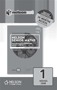 Nelson Senior Maths 11 Mathematics Essential for the Australian Curriculum 1 Access Code Card - 9780170443968
