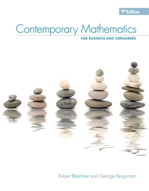 Contemporary Mathematics for Business & Consumers, 9th - 9780357026441