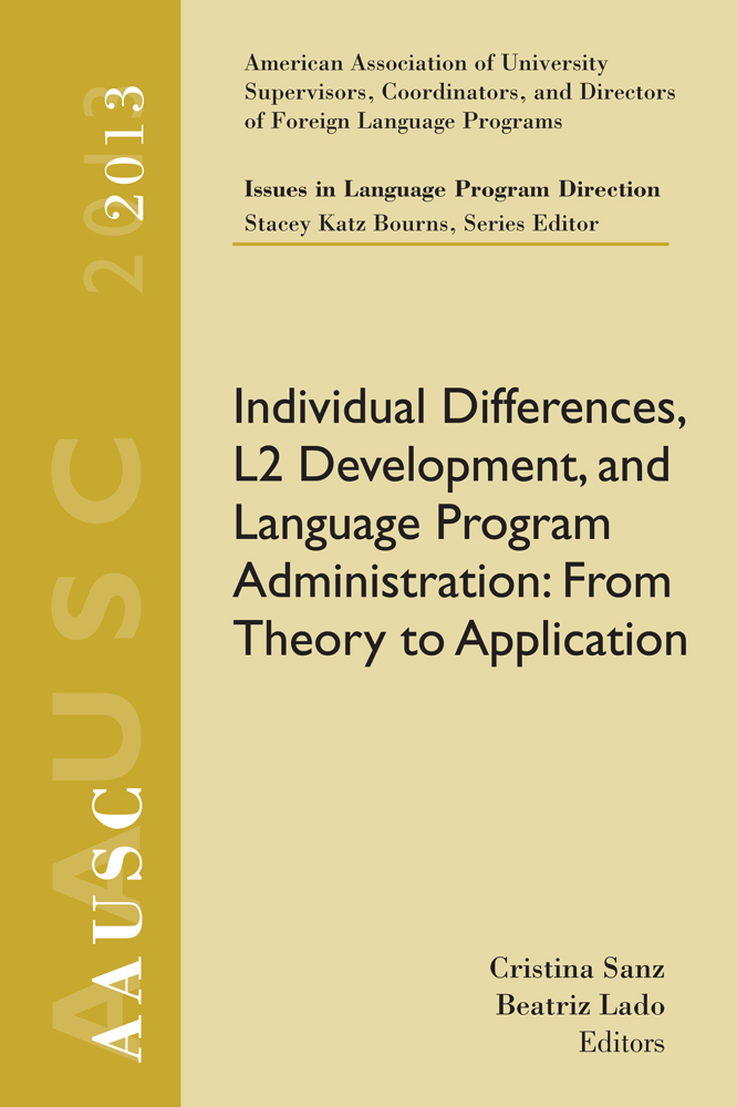 AAUSC 2013 Volume - Issues in Language Program Direction - 9781285760582