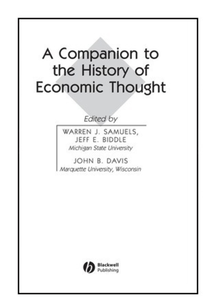 A Companion to the History of Economic Thought - 9781405128964