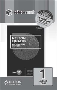 Nelson QMaths 12 Mathematics Methods (1 Access Code Card) - 9780170412988