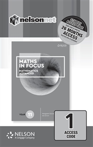 Maths in Focus 11 Mathematics Advanced (1 Access Code Card) - 9780170413213