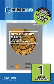 New Century Maths 11 Mathematics Standard (Pathway 2) 1 Access Code Card - 9780170413626